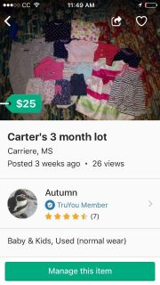 Carters baby girl 3 month lot