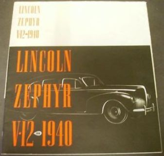 Find 1940 Lincoln-Zephyr V12 Dealer Prestige Brochure Sedan Coupe Limo Cabriolet Nice motorcycle in Holts Summit, Missouri, United States, for US $99.40