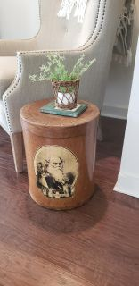 Drum Style Faux Leather Look Covered Container. Could Use for Small End Table and Storage. A Replica of an Old Tea Container.