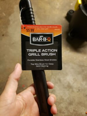 Triple action grill brush