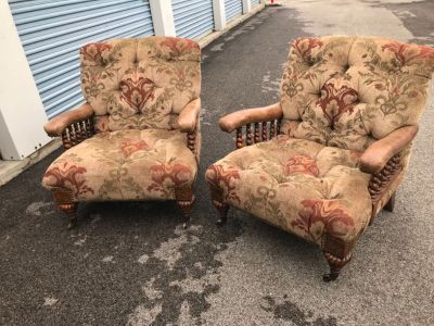 Sherrill two matching custom made chairs high end barley twist detailed