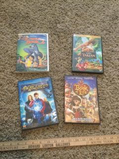 Set of 4 kids dvds, 3 are Disney Jungle Book 2, Tarzan, Socerer's Apprentice, 4th is Book of Life, $10.00 takes all. Not splitting.