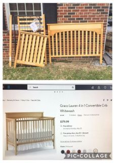 Graco 4 in 1 Convertible Crib, GUC, converts to toddler bed, daybed & full size headboard **READ PICK-UP DETAILS BELOW