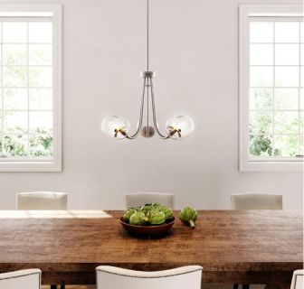 NEW-5-Light Brushed Nickel Chandelier with Globe Clear Glass Shades