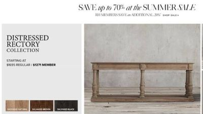 Restoration Hardware Rectory Table - Salvaged Natural - Used