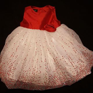 Beautiful red white and silver flowy dress for 3-6 month baby