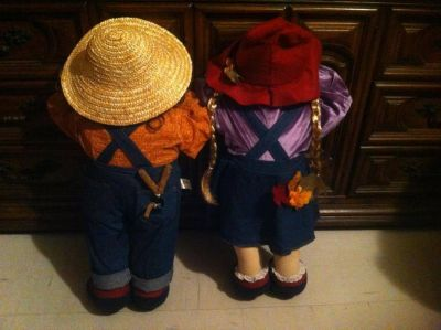 """Time Out Doll girl & boy 28"""" (I don't make these bought at craft show years ago) $20 for set"""