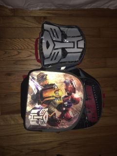 Transformer backpack and lunchbox
