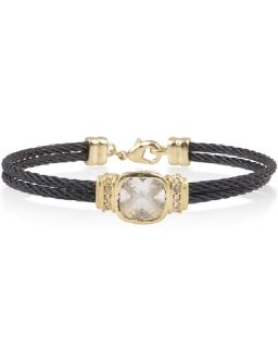 Black Cubic Zirconia Gold Plated Bar Cable Bracelet