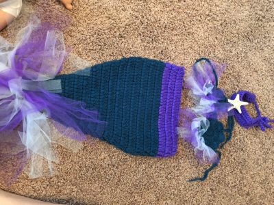 Knit Mermaid baby outfit 0-9m