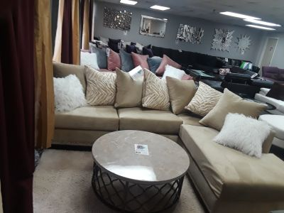 Velvet sectional in cream or purple