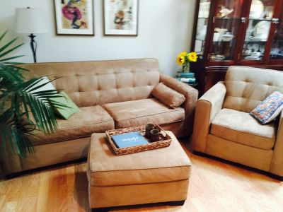 Havertys Couch ($300) + Chair & Ottoman ($100) ~ Excellent Condition!