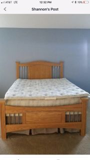 Queen Size Bedroom Set (bed, armoir, long dresser w/mirror and 2 night stands)