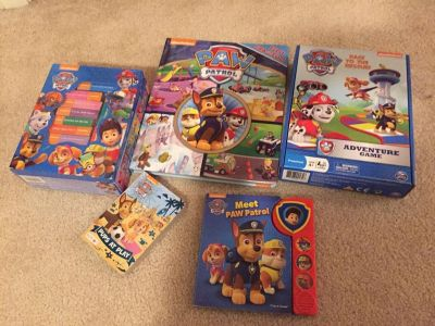 Paw patrol set of books and a game