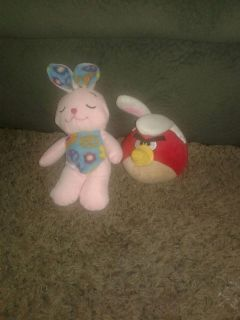 Pink peace bunny and red angry bird with bunny ears