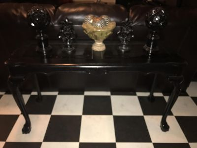 Black sofa table with glass inserts