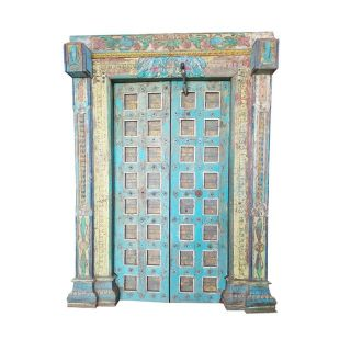 Antique Doors Om Indian Blue Yellow Teak Iron Haveli Architecture