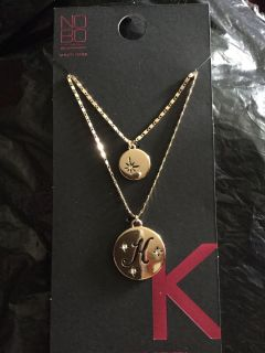 Initial necklace K NWT giftable