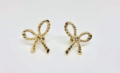 New Womens Gold Textured Bow Earrings
