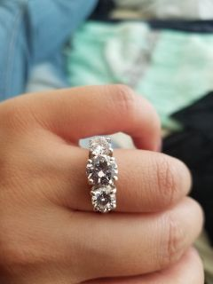 Lovely Silver ring, stamped 925, 3 Cubic zirconia stones, size 7, 360 Mechanicsville pickup