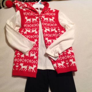 Little Girl NEW! Adorable 3 Pc Cute Winter Red Design with Matching Jacket outfit! Size 5/5t maybe a small 6