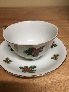 Lefton Hand Painted Fine China Tea Cup and Saucer