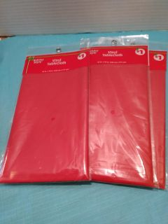 New Red Vinyl Table cloths 52inx70in