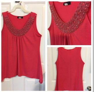 """Melon Colored Sleeveless Top with Beautiful Neck. """"agenda"""" Brand - SIZE XL - Longer on both sides more pics above"""