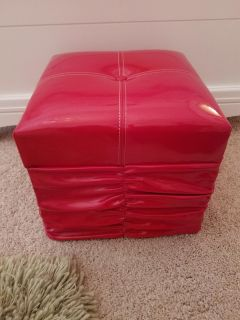 2 Red patent leather ottomans