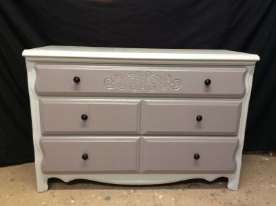 Dresser, TV Stand redo, Stanley brand, Softwhite, 3 Gray drawers, knockout design! Affordable price