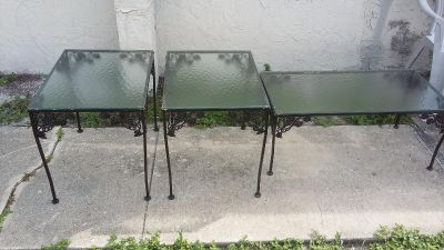 Vintage Set of 3 Wrought Iron and Cast Aluminum Patio Tables.