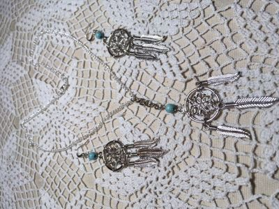 Dream Catcher Necklace Earring Set with Turquoise Stones on Each Silver Dangle
