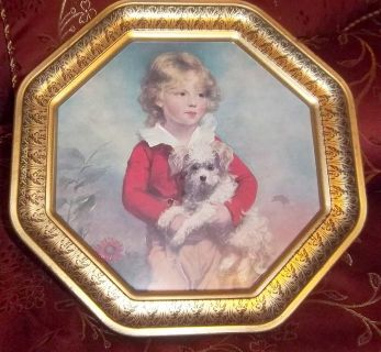 """Vintage 12"""" decorative tin octagon picture of a little boy and his dog"""