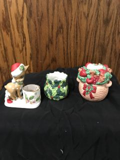 Three cute Christmas candle holders