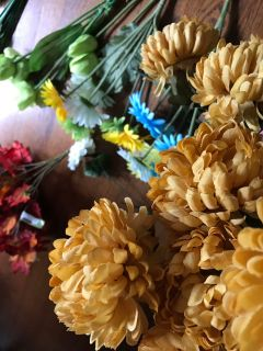 Artificial silk flower stems and bushes