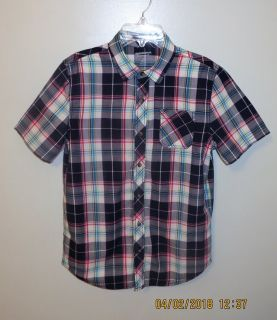 Young Men's Arizona Jean Short Sleeve Button Front Plaid Shirt - Boy's XL 18/20 (Men's Small)