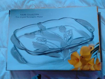 Tulipe collection fine crystal platter