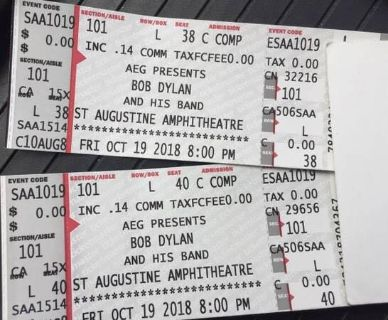 TWO (2) PREMIUM TICKETS FOR SOLD OUT BOB DYLAN CONCERT SECTION 101 (COVERED)