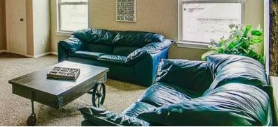 Leather Navy Loveseat & Couch Set