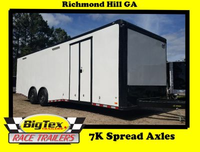 2019 Covered Wagon 8.5x28 7K Spread Axles White with Black O