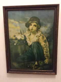 Raebburn Boy & Rabbit Framed Vintage Antique Print