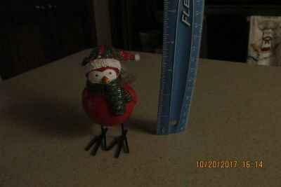 Sweet Ceramic Christmas Bird -- Glittery Window Sitter w/Tag