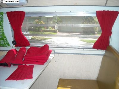 VW Red Curtains Fits Bay Window Models 1968-1979