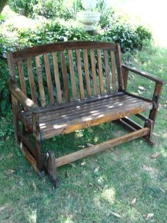 Refinished Wood Swing Bench