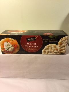Signature cracked pepper water crackers, expiration October 2019