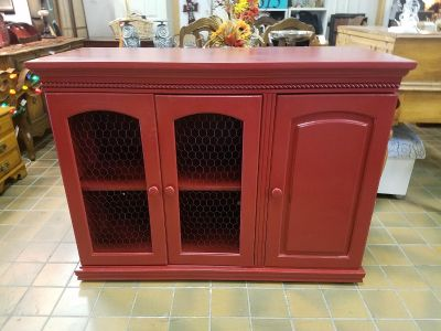 Red chicken wire cabinet, TV console, etc $175 plus tax