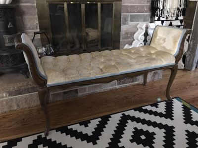 Antique bench wood and cream