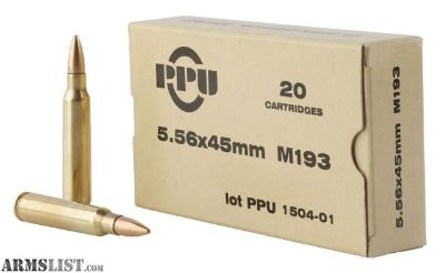 For Sale: PPU PPN55651 Mil-Spec M193 223 Remington/5.56 NATO 55 GR Full Metal Jacket Boat Tail 20 Bx/ 50 Cs-flat rate shipping $!4.95 for unlimited boxes