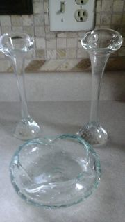 Two Glass Bud Vases/Tapered Candle Sticks& Matching Ash Tray
