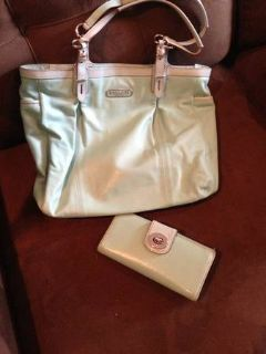 Mint Coach Purse  Matching Wallet